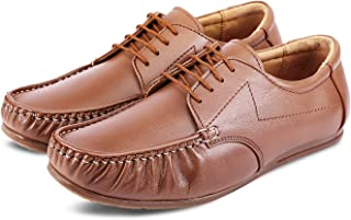 Kanprom Men's Tan Genuine Leather Casual Boat Lace-Up Shoes