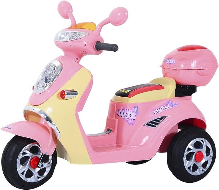 Motorino elettrico per bambine tre ruote velocità 3km/h 108×51×75cm homcom IT370-0130631
