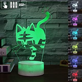 Gift Ideas Kitty Night Lights 3D Illusion Lamp Animal Light Led Desk Lamps Unique Anniversary Gifts for Baby Home Decor Office Bedroom Party Decorations Nursery Lighting 7 Color Cat Crackle Paint Base