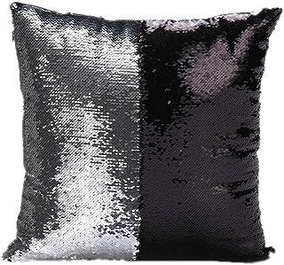 Elistelle - Federa quadrata per cuscino con paillettes a forma di sirena, colore nero, argento
