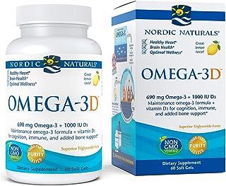 Nordic Naturals Omega-3D, Lemon Flavor - 690 mg Omega-3 + 1000 IU Vitamin D3 - 60 Soft Gels - Fish Oil - EPA & DHA - Immun...
