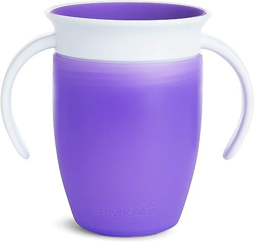 Munchkin Miracle 360° Vaso de Entrenamiento con Asas, Morado (Purple), 207 ml