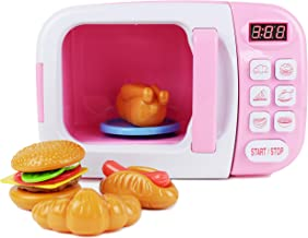 Boley Microwave Kitchen Play Set with Pretend Play Fake Food - Great for Toddlers Ages 3 and Older - Educational Battery Powered Playset with Lights and Sounds - Pink