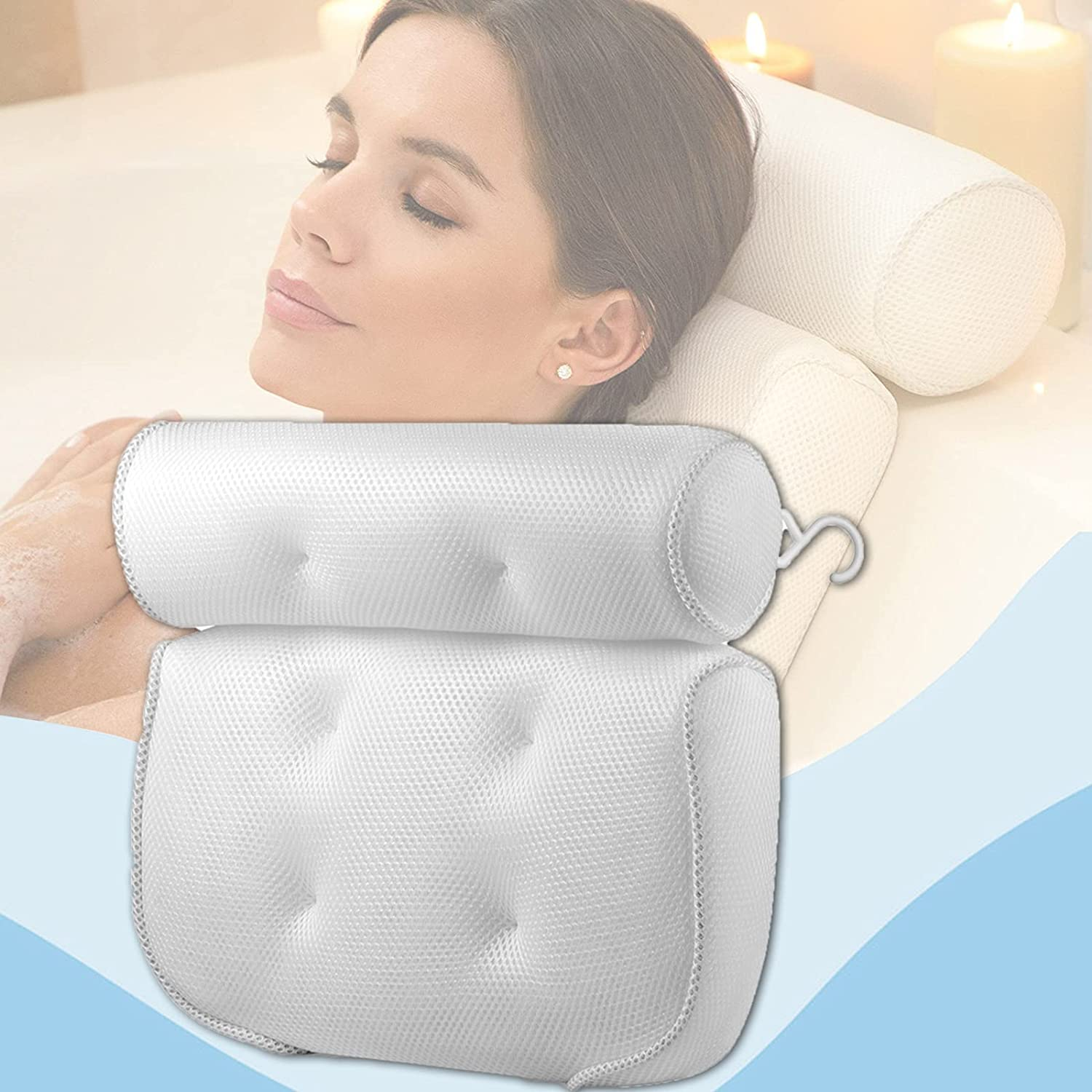 HeTaiDa Bath Quantity limited Pillow for Tub Neck and Mesh Support High quality new Air Back Sp 3D