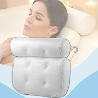 HeTaiDa Bath Pillow for Tub Neck and Back Support 3D Air Mesh Spa Bathtub Pillows with 6 Strong Suction Cup Soft