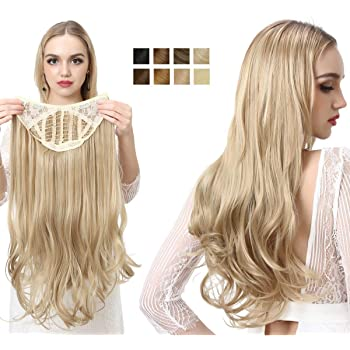 Blonde Hair Extensions Clip in on U Part Full Head Wig Long Curly Wave Synthetic Hair Pieces for Women 24 Inch SARLA UH17&27/613
