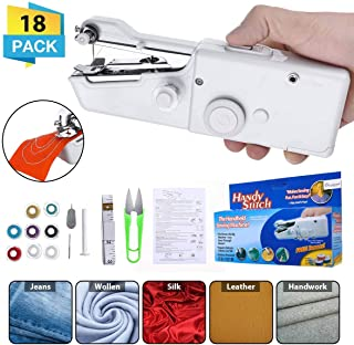 CHARMINER Handheld Sewing Machine, Mini Handy Cordless Portable Sewing Machine, Quick Repairing Suitable for Denim Curtains Leather DIY 18 PCS White