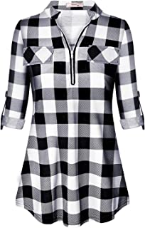Tanst Womens Casual 3/4 Rolled Sleeve Zipped V Neck Plaid Tunic Blouses