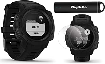 Garmin Instinct Tactical (Black) Outdoor GPS Watch Power Bundle | with HD Screen Protector Film Pack & PlayBetter Portable Charger | US Military 810G, Reinforced Housing, Stealth Mode, HR, TracBack