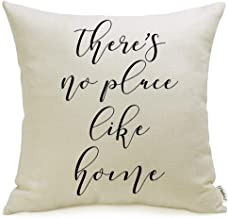Meekio Farmhouse Pillow Covers with There's No Place Like Home Quote 18 x 18 for Farmhouse Décor Housewarming Gifts New Home Gifts