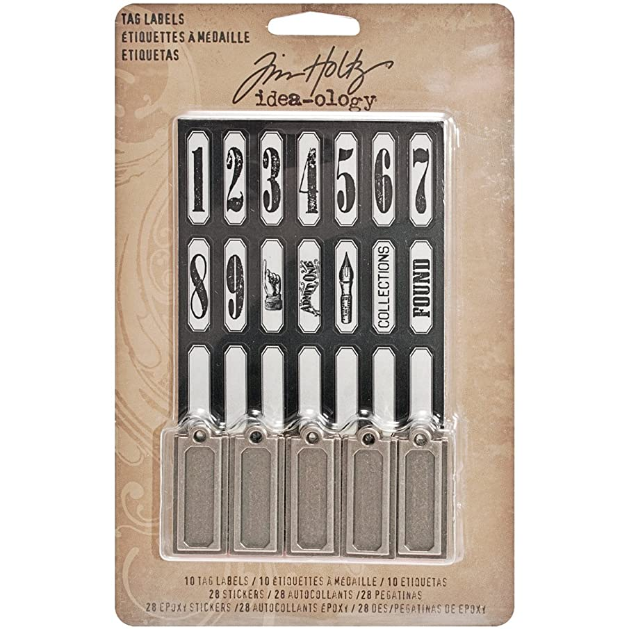 Metal Tags and Labels by Tim Holtz Idea-ology, 10 Tags and 56 Stickers, Multicolored, TH93059