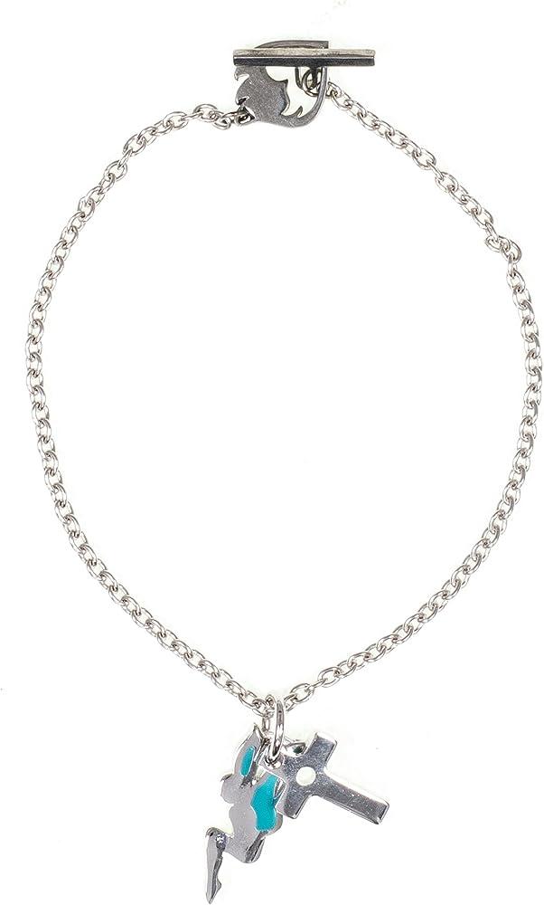 Rebecca bracciale per donna in bronzo silver con charms fatina e croce BUNBBS11