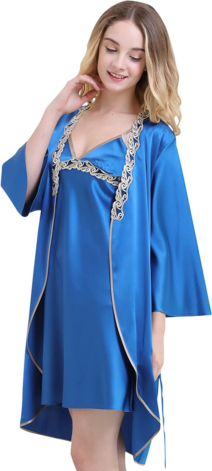 Chesslyre Women Sexy Lace Embroidered Silk Pajama Robe Set Two Piece