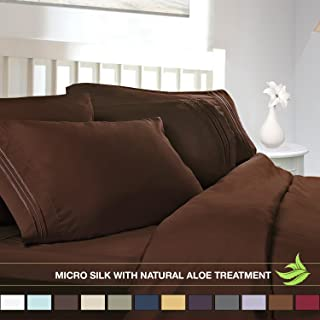 Luxury Bed Sheet Set - Soft MICRO SILK Sheets - Queen Size, Chocolate Brown - with Pure Natural ALOE VERA Skin Soothing Moisturizing Treatment - Healthy Calming Properties Will Make You Have A Relaxed and Refreshed Sleep - Highest Quality with Strong Stitching Will Make Your Sheet Set Last For Many Years - Get the Luxurious Look and Silky Feel No Other Sheet Set can Offer - Clara Clark