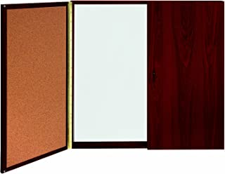 Ghent Conference Cabinet - Porcelain Magnetic Whiteboard w/Cork on Interior of Doors - Mahogany - Made in the USA