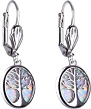 KELITCH Tree of Life Leverback Earrings with Created Opal Drop Dangle Earrings Pendant Necklace for Family Jewelry