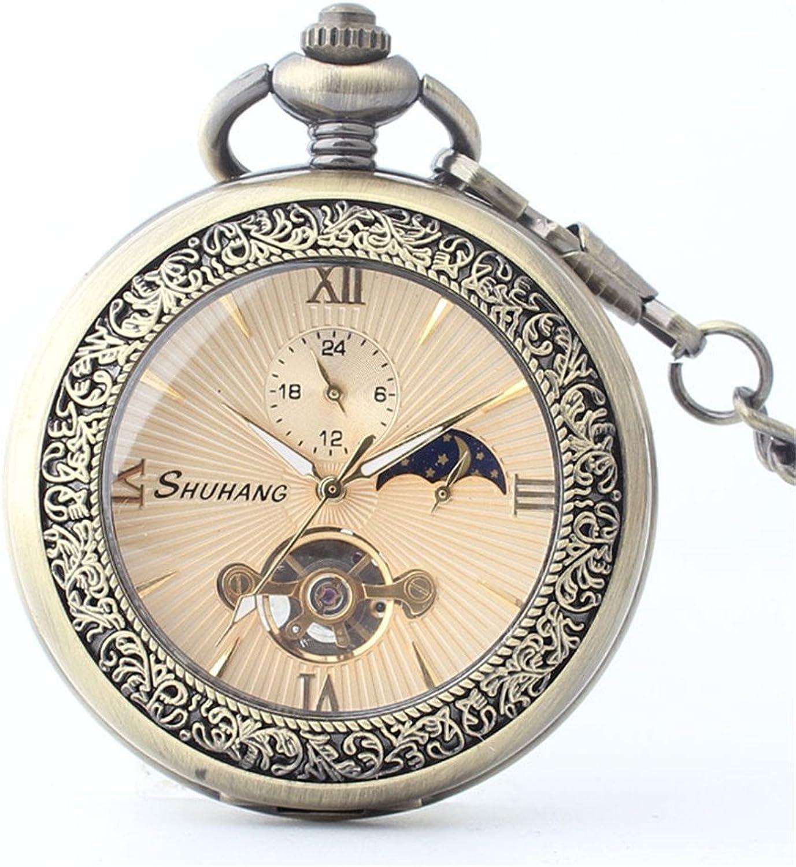 Pocket Watch Exquisite Roman Numerals Retro Pocket Watch Boutique Bronze Unisex Mechanical Pocket Watch with Chain