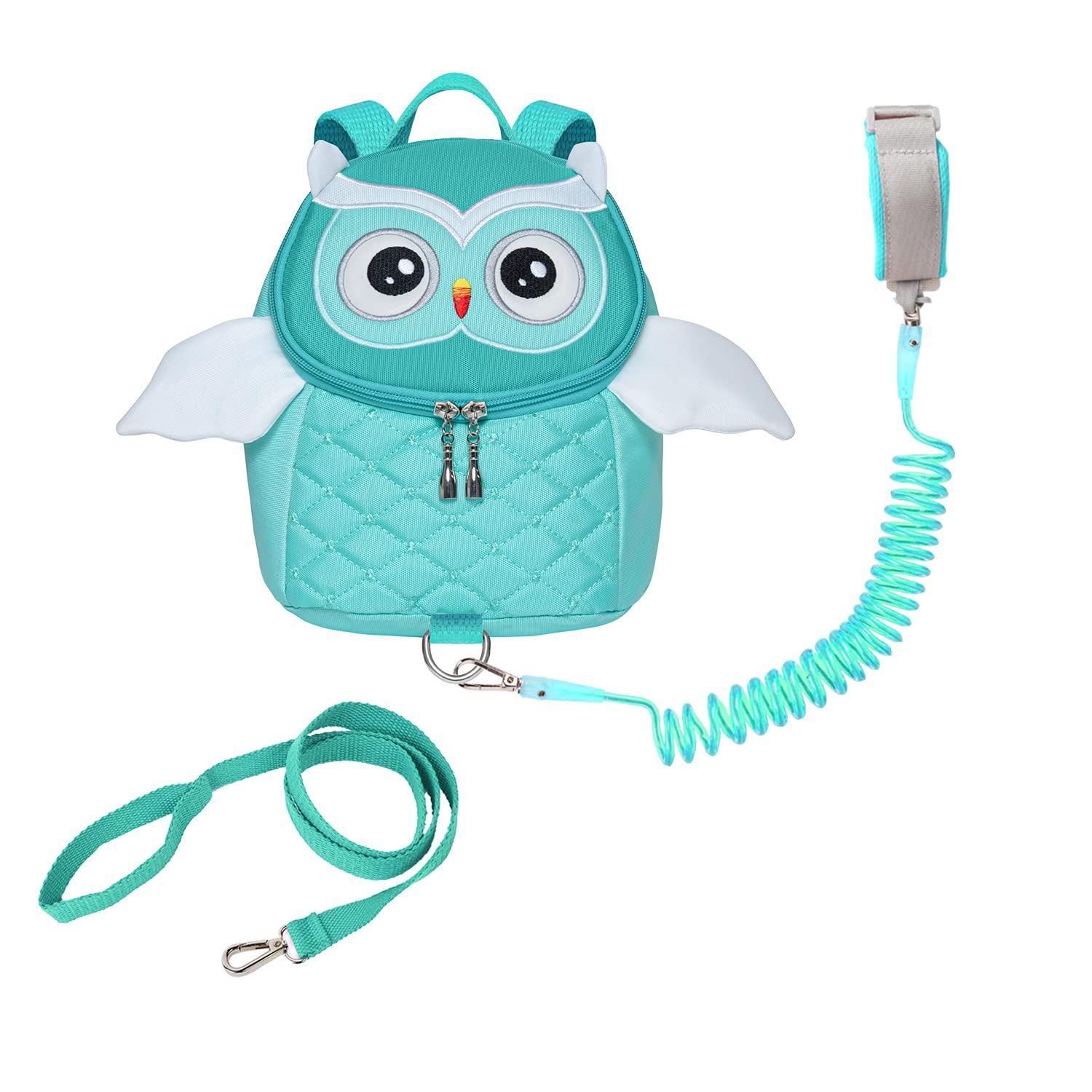 Owl Toddlers Leash Backpacks with Anti-Lost Wristlets Child Kids Wrist Link (Light Green)
