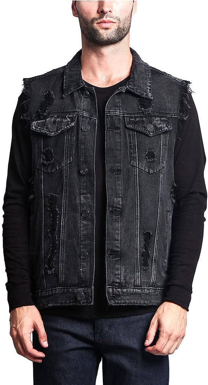 EverNight Men's Casual Retro Ripped Denim Jeans Vest,Sleeveless Distressed Motorcycle Jacket Waistcoat