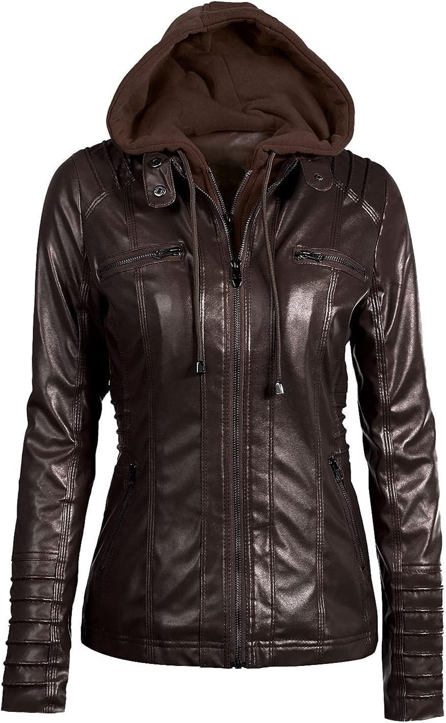 Plus Size 7XL Women Hooded Faux Leather Jacket Pu Motorcycle Hat Detachable Casual Leather Punk Outerwear (Color : Coffee, Size : 7XL.)