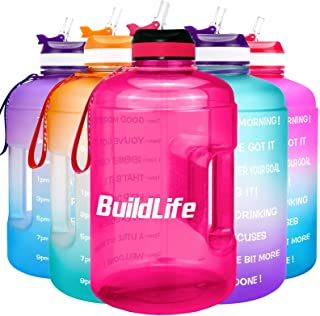 BuildLife Gallon Motivational Water Bottle Wide Mouth with Straw & Time Marked to Drink More Daily - BPA Free Reusable Gym...