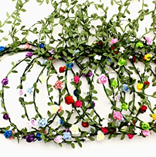 16 Pieces Assorted Colored Flower Crown Wreath Headband Garland Headbands for Wedding Festival Party Vacation for Women Girls Brides Kids