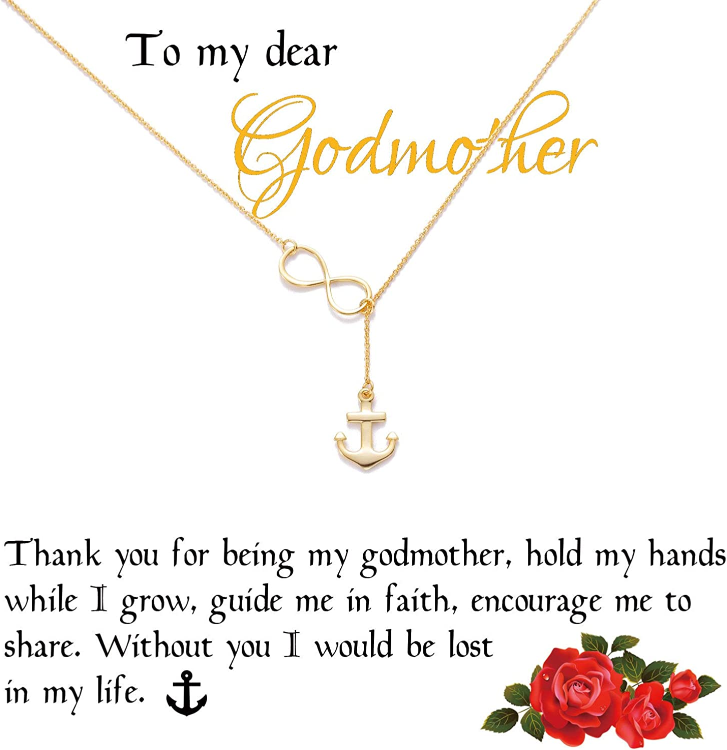 Zealmer 18K Gold Plated Infinity Angel Wing Clover Cross Anchor Necklace Godmother Gift for Women