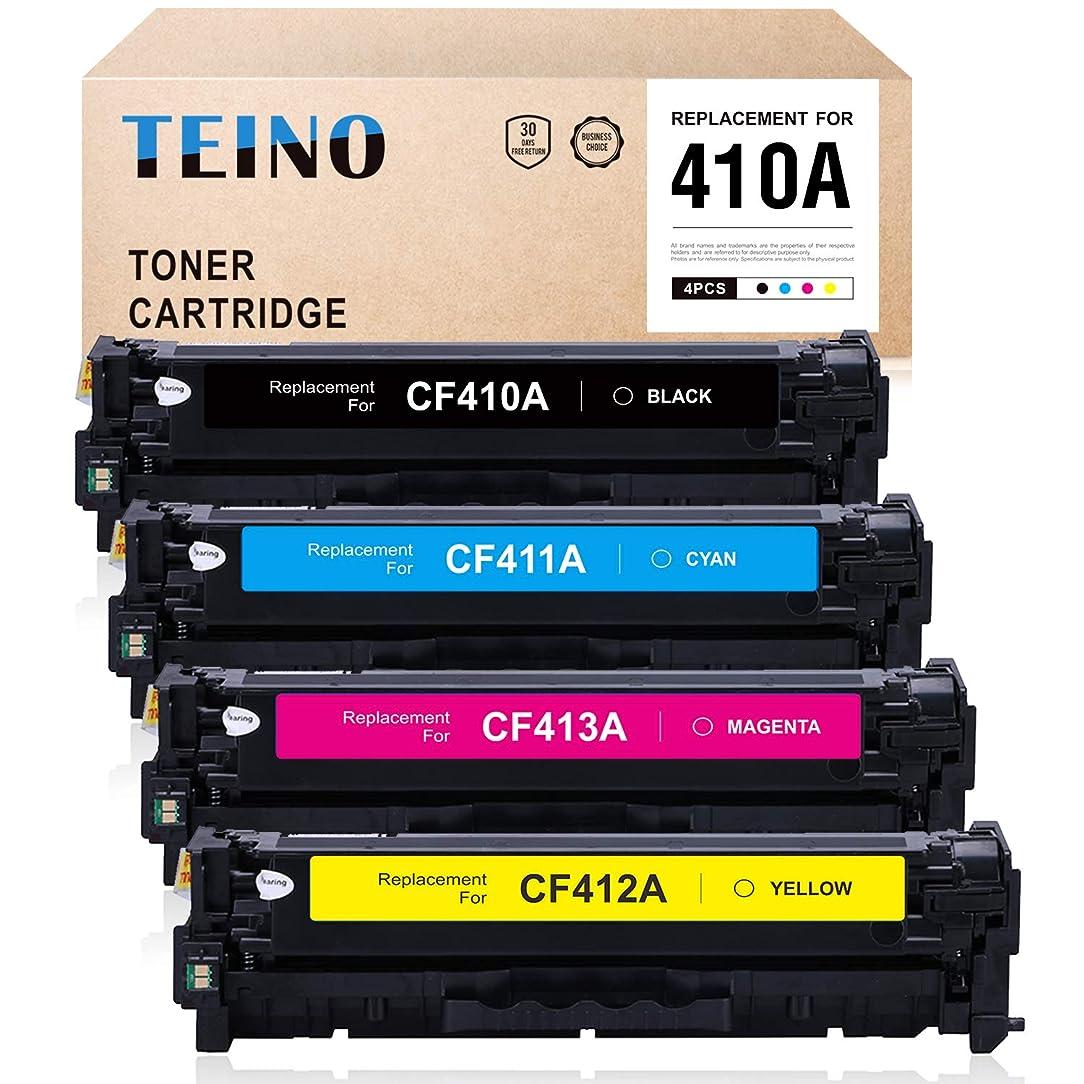 TEINO Compatible Toner Cartridge Replacement for HP 410A CF410A CF411A CF412A CF413A M477fdw M452dw (Black,Cyan,Yellow,Magenta,4-Pack)