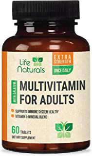 Multivitamin for Men and Women Once Daily Multi with Vitamins A, C, D, B1, B2, B3, B6, B12, Pantothenic Acid, & Calcium, Made in USA, Natural Vitamin and Mineral Supplement - 60 Tablets