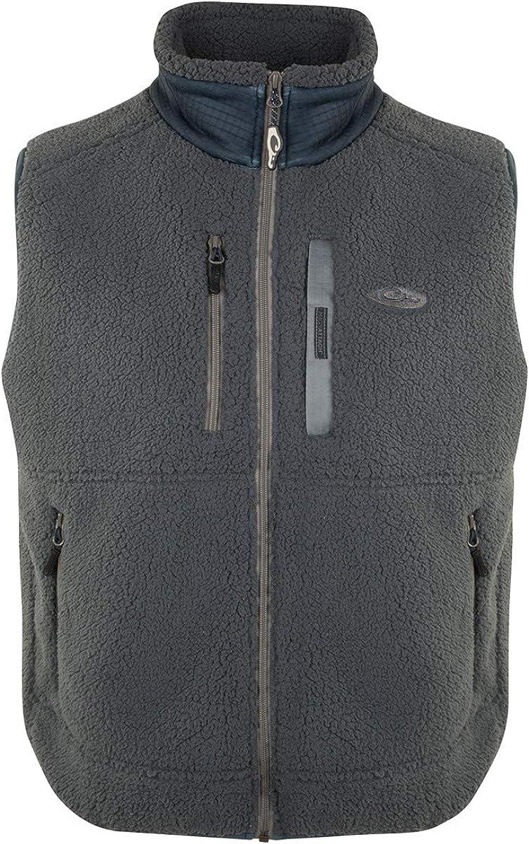 Drake Sherpa Fleece Layering Vest Charcoal/Navy LG
