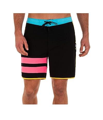 Hurley 18 Phantom Block Party Boardshorts (Black/Pink) Men