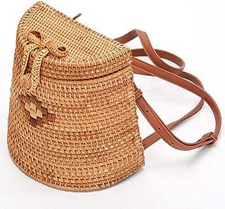 Fashion Trapezoidal Messenger Bag PU Shoulder Strap Beach Hand-Woven Storage Bag Daily Retro Natural Straw (Color : Brown)