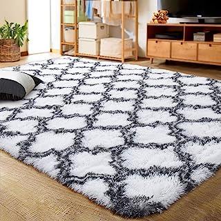 LOCHAS Luxury Velvet Shag Area Rug Modern Indoor Plush Fluffy Rugs, Extra Soft and Comfy Carpet, Geometric Moroccan Rugs for Bedroom Living Room Girls Kids Nursery, 4x6 Feet Grey/White