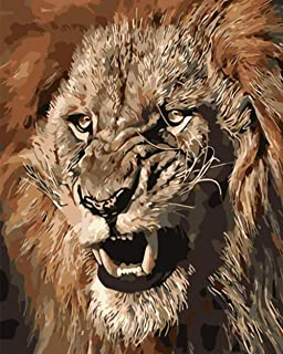 SHPLMJ Painting by Numbers DIY Fierce and Angry Lion King Animal Canvas Wedding Decoration Art Picture Gift (40X50Cm/16X20Inch,No Frame)