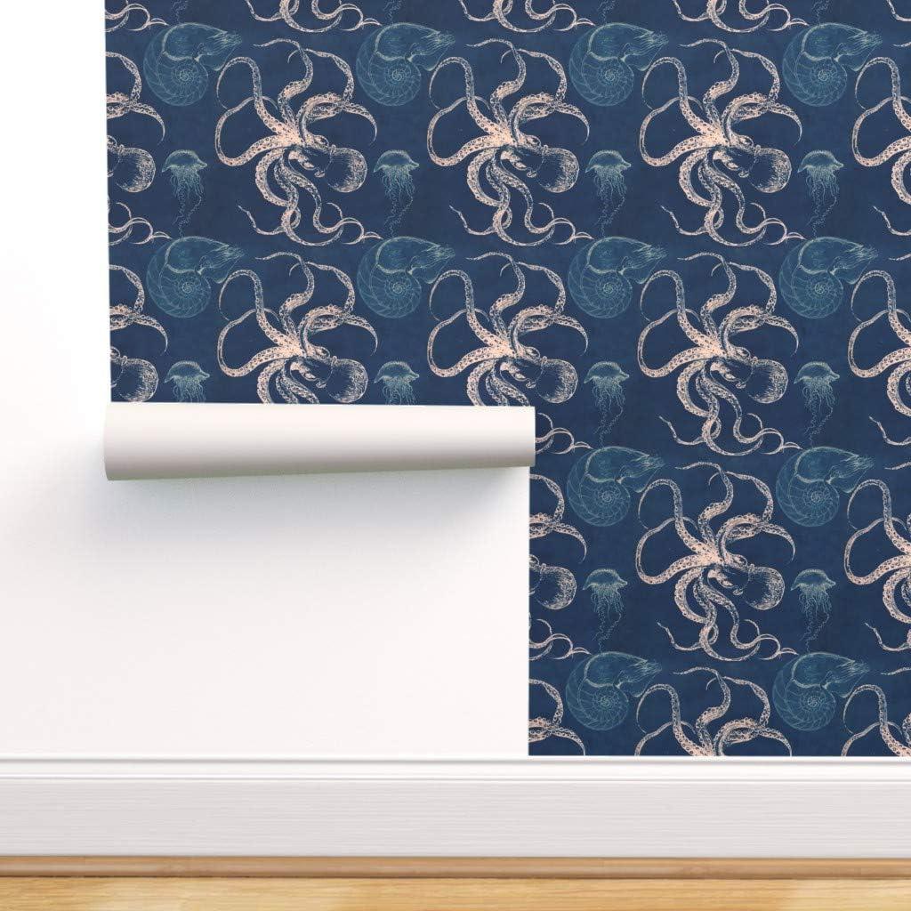 Spoonflower Pre-Pasted Removable Wallpaper Nau Blue 全店販売中 Sea Octopus 贈答