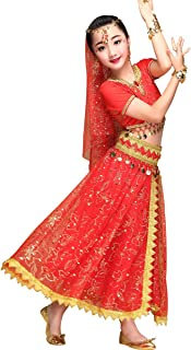 Belly Dance Costume Bollywood Dress - Halloween Chiffon Dance Outfit Costumes with Head Veil for Women