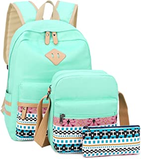 School Backpack for Girls Canvas Backpack College Laptop Bookbag Set with Shoulder Bag and Clutch Pencil Pouch Casual Daypack (Mint Green)