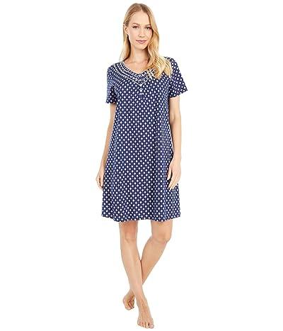 Carole Hochman Soft Jersey Short Sleeve Sleepshirt (Navy Geo) Women