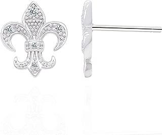 Spoil Cupid 925 Sterling Silver Cubic Zirconia the Fleur De Lis Lily Flower Stud Earrings