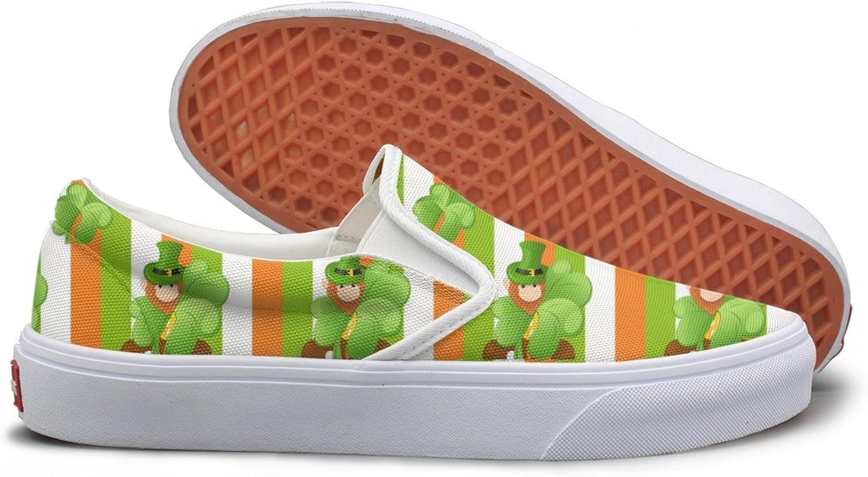 SEERTED Shamrock Flag Green Canvas Slip On shoes for Women