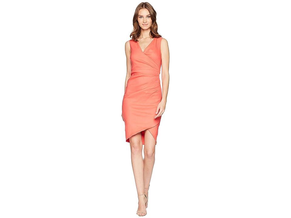 Nicole Miller Stretch Linen Stefanie Dress (Melon) Women