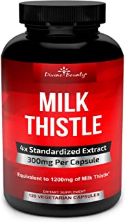 Pure Milk Thistle Capsules Supplement - A Potent 1200mg Milk Thistle Supplement with 4X Concentrated Extract (Standardized...