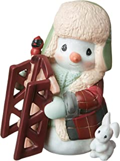 Precious Moments May Your Holidays Be Filled with Winter Thrills 10th Annual Snowman Bisque Porcelain 191015 Figurine, One Size, Multi