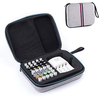 ZBRGX 電池ケース 電池ストッカー 乾電池 収納 保管 ボックス ポータブル ハードEVA バッテリー用収納ケース 40個の電池用の収納可能 - AA AAA バッテリー充電器 大容量 電池収納箱 (グレー)