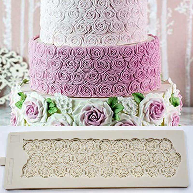 Sugar Rose Mould DIY Wedding Birthday Cake Mold Fondant Molds Silicone Cake Border Brim Decor Mold Cake Embossed Textured Mat Sugar Pastry Gumpaste Embossing Pad 3D Crafts Cake Decorating Tools
