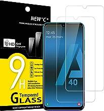 NEW'C Lot de 2, Verre Trempé Compatible avec Samsung Galaxy A40, Film Protection écran sans Bulles d'air Ultra Résistant (0,33mm HD Ultra Transparent) Dureté 9H Glass