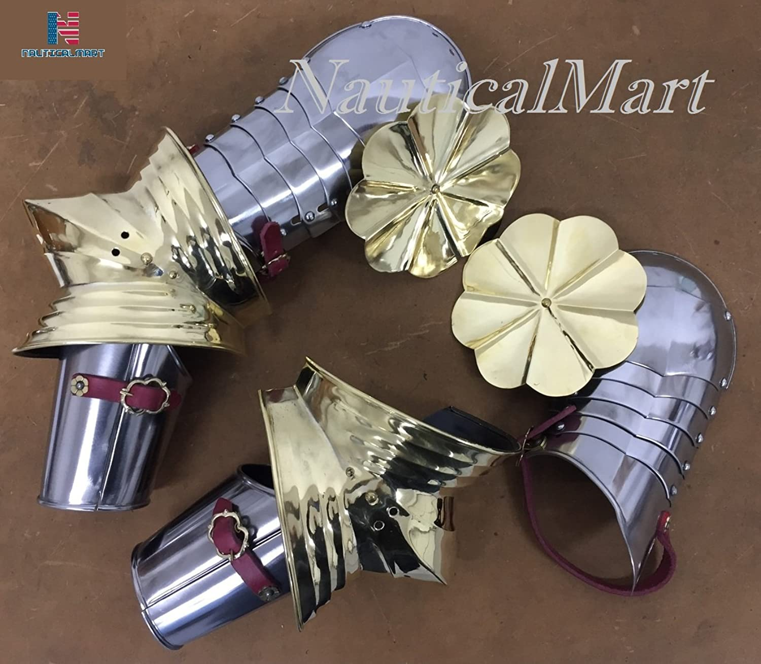 NAUTICALMART Medieval Gothic Armor Arm and Shoulder Set Steel or Brass Polishing