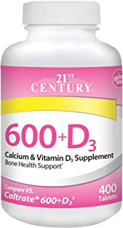 21st Century Calcium Plus D Supplement, 600 mg, 400 Count