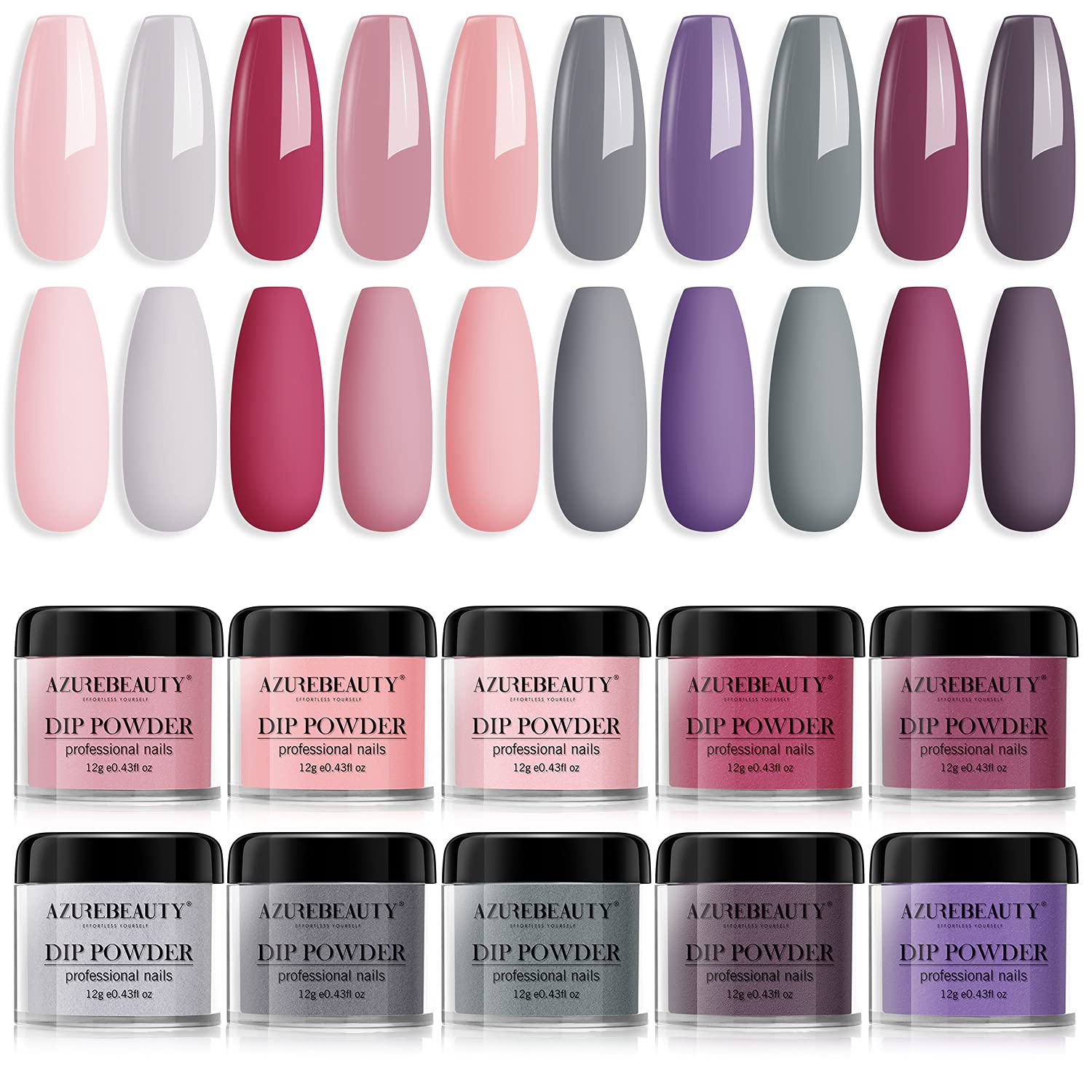 Ranking TOP16 Dip Powder Nail Ranking TOP4 Set 10 Colors AZUREBEAUTY Classic Pink Nude Col