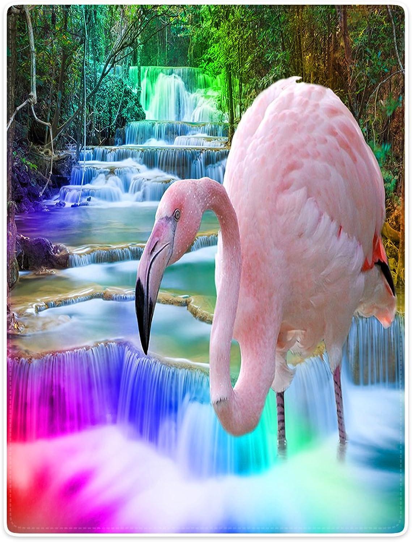 Blanket Sofa Bed Throw Lightweight Cozy Plush Pink Flamingos Creek Waterfall 40 x50